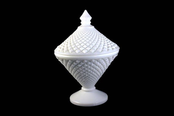 Milk Glass, Westmoreland, Candy Dish, English Hobnail Pattern, Lidded Candy Dish, Collectible