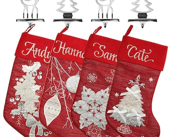Personalised Red Stocking and Hanger Value Pack
