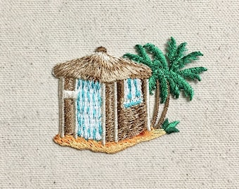 Tiki Hut - Palm Trees - Tropical/Surf/Beach - Iron on Applique - Embroidered Patch - 1126840-A