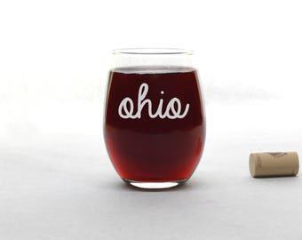 Ohio Wine Glass - Funny Wine Glass - Stemless Wine Glass - Wine Glass - Wine Glasses