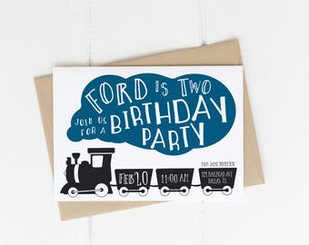 Train Birthday Party Invitation, Boy 2nd Birthday Party Invite with back, Two Two Modern Train Bday Printable, Choo Choo, 1st, 3rd, 4th