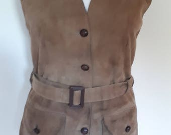 Vintage 60s 70s suede leather waistcoat vest by Glenhusky of Scotland brown ladies fitted wool knit washable suede size medium