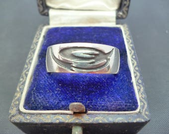 A unique mens silver ring - 925 - sterling silver - Band ring - UK R - US 8.75
