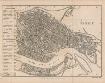 1858 Venice Italy Antique Map