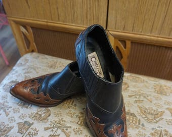 Vintage Circle S Cowboy Boot Ankle Boots Two Toned Tan and Black Leather Inlay Western