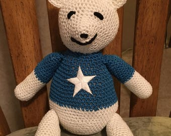 "Handmade 11"" tall Dallas Football Bear"