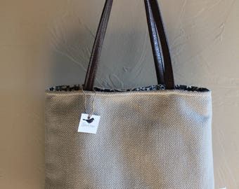 Tote Bag with Waxed Canvas Bottom