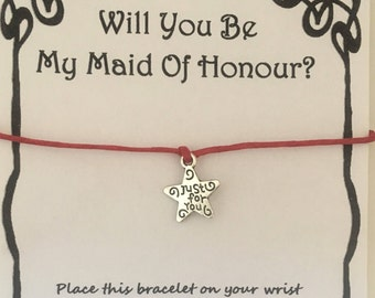 Will you be my maid of honour, card, wish, bracelet, charm, maid of honour, gift, maid of honour card, wedding, various charms colours