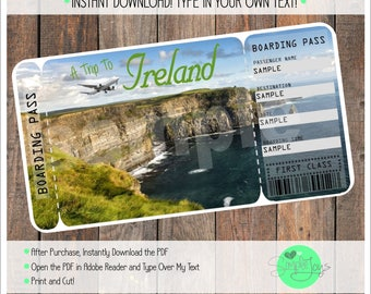 Printable Ticket to Ireland Boarding Pass, Template, Digital File - You Fill and Print