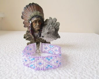 NATIVE AMERICAN Inspired 'Loom Bead' Cuff Bracelets.  'Pale Persian'