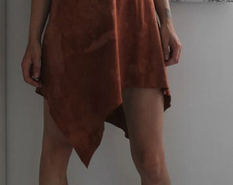 Boho dress asymmetric Terracotta - open on front and low necked on back - organic . hemp and cotton - ecofriendly - hand dyed