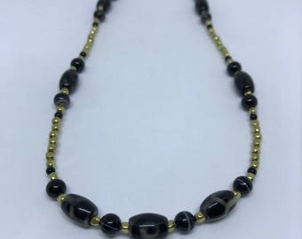 Tibetan Agate DZI protective bead Necklace with Brass, Banded Agate, and Onyx 28""