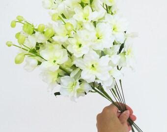 11 Delphinium Branches White Artificial Flowers Silk Flower Bouquet Delphinium Bush White Green Floral Accessory Faux Fabric