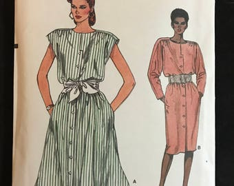Vogue 9311 - 1980s Blouson Bodice, Button Front Dress with Dropped Shoulders in Below Knee or Midi Length - Size 14 16 18
