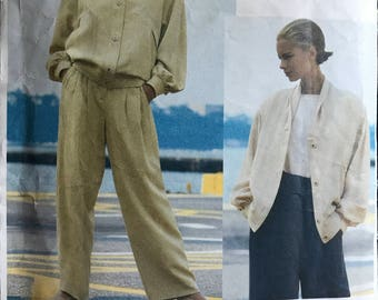 Vogue 2627 - Carmelo Pomodoro Attitudes Loose Fitting Jacket with Dropped Shoulders and Straight Legged Pants with Pleats - Size 8 10 12