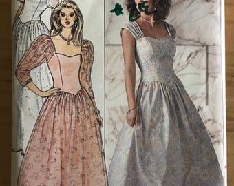 Butterick 4829 - 1980s Basque Waist Prom Dress with Flared Midi Length Skirt and and Princess Seams - Size 12 14 16
