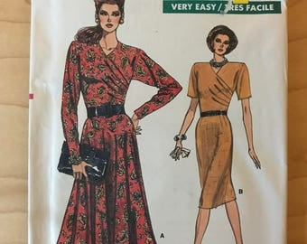 Vogue 7006 - 1980s Easy to Sew Pleated and Asymmetrical Dress with Straight or Flared Skirt - Size 8 10 12