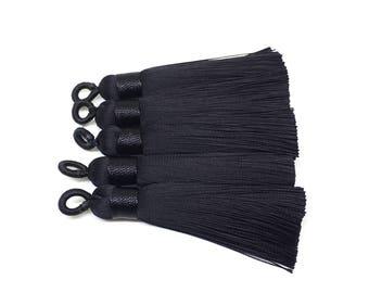 Black Tassels, tassel earrings, Silk Tassels, 2.5 Inch 65mm Tassel, black jewelry, tassel necklace, black necklace, long black tassel neckla