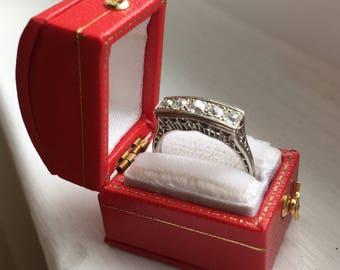 Art Deco Five Diamond Filigree Ring