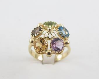 18K Yellow Gold Muti Color Stones Ring, 18k Gold Gemstones Ring