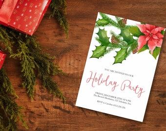 Holiday Party Invitation, Christmas Invitation, Poinsettia Invitation, Winter Invitation, Printable Christmas Invite, Christmas Party Invite
