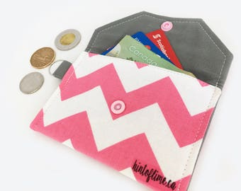 Minimalist Thin Keychain Snap Wallet - Pink White Chevrons / Grey