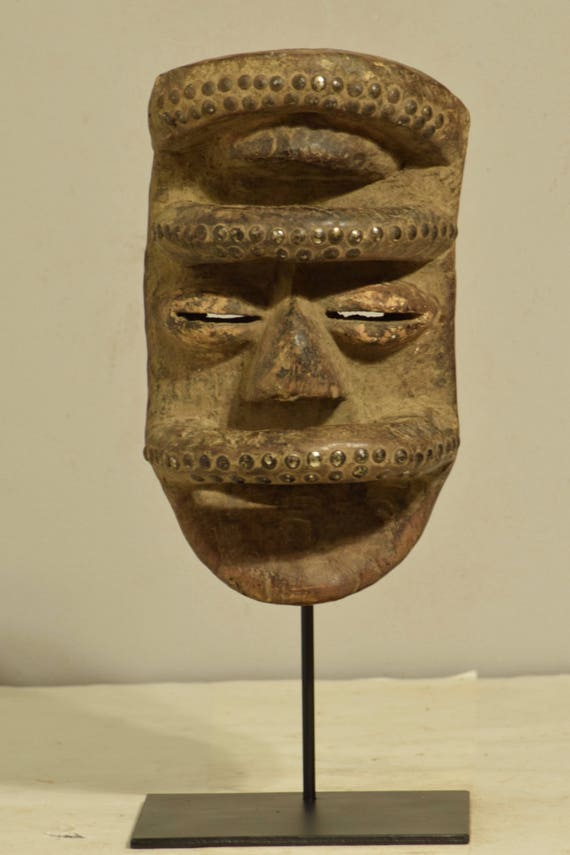 African Bete Mask Wood Brass Cote d'Ivorie Magic Handmade Dancing Warrior Powerful Bete Mask