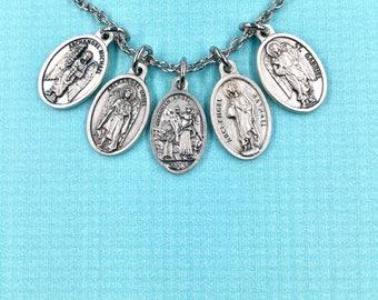Protection Necklace,Archangel Necklace,Archangel Michael,Uriel,Raphael,Gabriel,Guardian Angel Medal, Archangel Medals Pouch