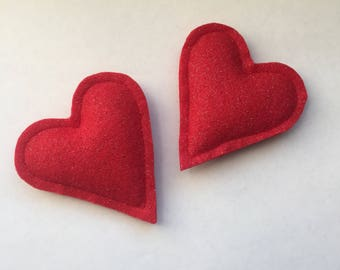 Catnip Heart Cat Toys -  2 Pack Kitty Cat Nip Cat Toy - Glitter Heart Cat Lady Gift - Valentines Cat Gift - Two Pack Cat Toys