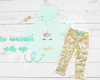 Girls First Birthday Personalized Unicorn Outfit, 1st Birthday Unicorn, First Birthday Girl Outfit, Unicorn Birthday Outfit, Sparkle Pants