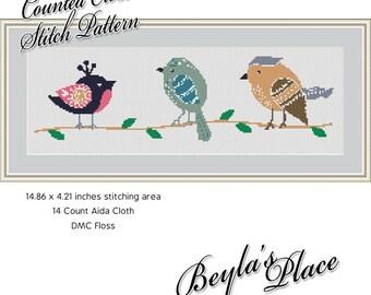 Cross Stitch Pattern, 3 Birds, modern, Instant download digital PDF, Cute Animal, wildlife