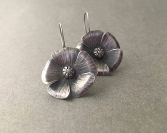 Sterling silver earrings, hand forged metal flower