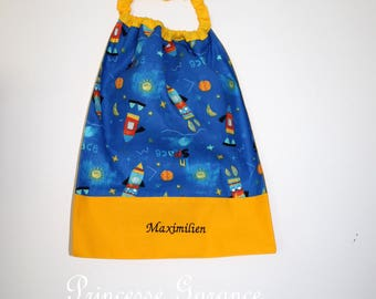 Christmas, birthday, canteen * napkin, bib, canteen, with elastic at the neck - cotton space - custom