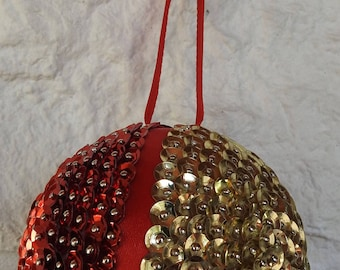 Handmade Red And Gold Sequined And Ribbon Christmas Tree Bauble - Free Shipping