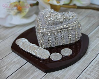 NEW!! Silver Wedding Arras,Ring Box, Arras de Boda, Unity Coins, Treasurer Chest Wedding Arras, Silver Wedding Arras, Heart Wedding Arras