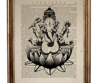 Valentines Day Decor, Ganesha Wall Art, Ganapati Dictionary Art Print Vinayaka illustration Binayak Artwork Poster Hindu Ganesha Wall Decor