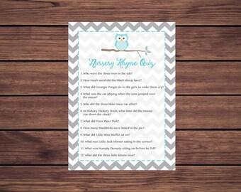 Blue Owl Nursery Rhyme Quiz Baby Shower Game, Nursery Rhyme Baby Shower Game, Gray Grey Chevron Instant Download  Printable 246