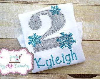 Snowflake Frozen inspired Girl birthday shirt child kid toddler infant baby custom embroidered applique name