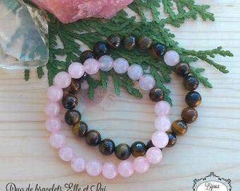Couple jewelry, couple gift, long distance relationship, gift him her, rose quartz, tiger eye, love friendship bracelets, Bijoux Koùkla