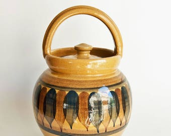 Lillerød//Lillerod Denmark, Stoneware Lidded Jar or Canister