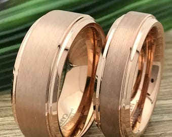 8mm/6mm Rose Gold Tungsten His and Her Ring Set, Engraved Wedding Date Rings, Coordinates Rings, Custom Promise Rings, Matching Couple Ring