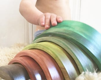 Wooden Rainbow, 6 piece, Earth tones, neutral colors, Waldorf Blocks, Eco-friendly toy, Waldorf Toy, Non-toxic Toy