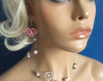 """Necklace + earrings """"Mila"""" ceramic flowers and Crystal beads"""