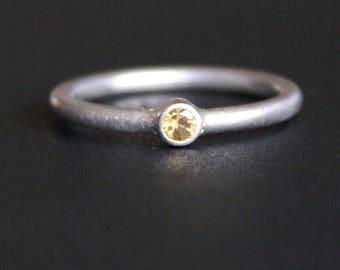 Engagement ring yellow citrine (925)