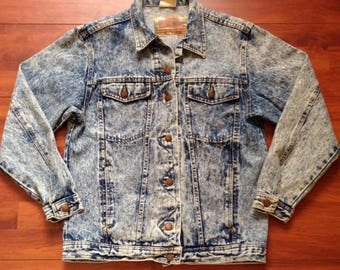 80's 90's Acid Washed Jean Jacket - Dusted Denim - Made in USA - Small - Vintage 80s Jean Jacket