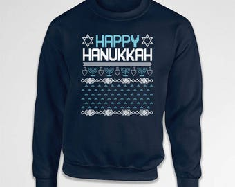Ugly Holiday Sweater Chanukah Sweater Holiday Sweatshirt Hanukkah Clothing Holiday Presents Hanukkah Gift Ideas Crewneck Hoodie TEP-381