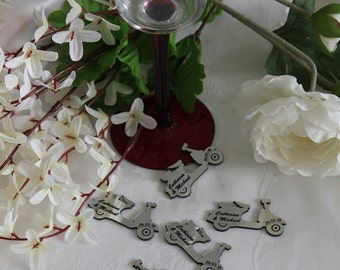 Classic VESPA SCOOTER Personalised Wedding Table Confetti Scatter Favour