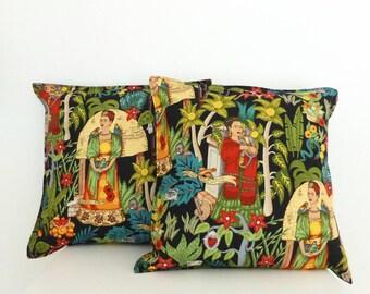 50cms Large Frida's Garden Black Cushion Covers  | Handmade in Australia