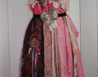"Bohemian backless dress ""Maite"" , Boho dress, Unique, Art to wear, Beautiful and feminine"