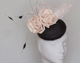 Black and Blush Pink Fascinator- Kentucky Derby Hat - Royal Ascot Hat - Wedding Hat